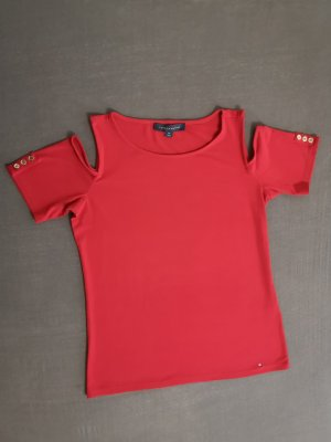 Tommy Hilfiger Top cut out rojo