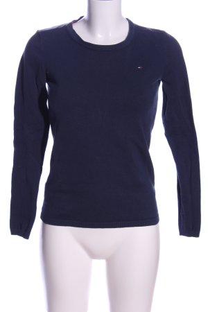 Tommy Hilfiger Rundhalspullover blau Zopfmuster Casual-Look