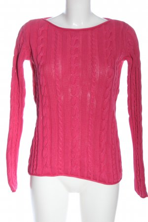 Tommy Hilfiger Rundhalspullover pink Zopfmuster Casual-Look