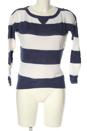 Tommy Hilfiger Rundhalspullover blau-weiß Streifenmuster Casual-Look