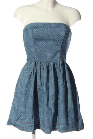 Tommy Hilfiger schulterfreies Kleid blau-wollweiß Punktemuster Elegant