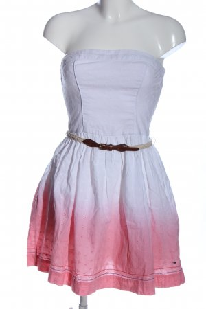 Tommy Hilfiger schulterfreies Kleid weiß-pink Farbverlauf Casual-Look