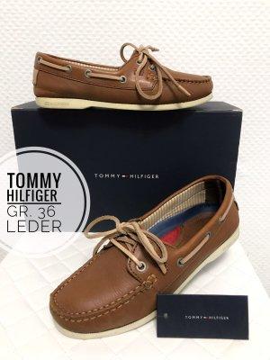 Tommy hilfiger slipper schuhe 36 leder bequem bootsschuhe flach blogger vintage