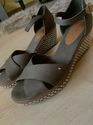 Tommy Hilfiger Wedge Sandals khaki mixture fibre