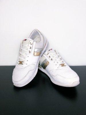 Tommy Hilfiger Sneaker Sportschuhe Schuhe weiß gold Leder Größe 38 Damen