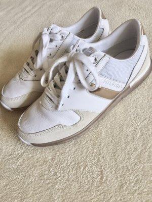 Tommy Hilfiger Sneaker Turnschuh weiß creme beige bronze Gr. 37