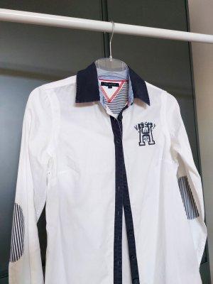 Tommy Hilfiger Chemise à manches longues blanc-bleu foncé