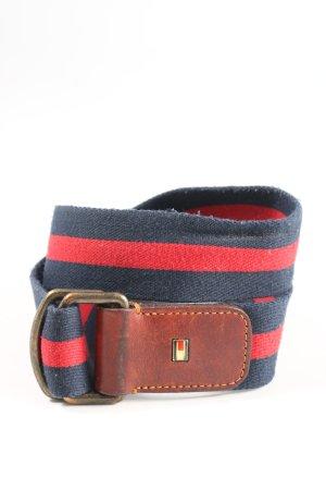 Tommy Hilfiger Cinturón de tela azul-rojo estampado a rayas look casual