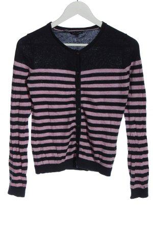 Tommy Hilfiger Strick Cardigan schwarz-pink Streifenmuster Casual-Look