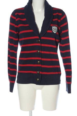 Tommy Hilfiger Blazer en maille tricotée bleu-rouge motif rayé