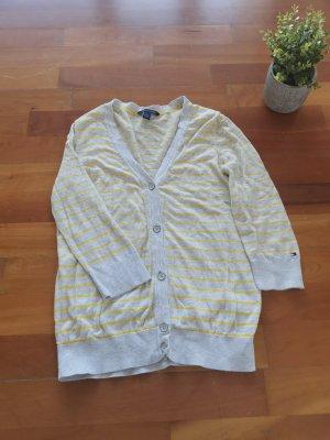 Tommy Hilfiger Strickjäckchen grau gelb gestreift, Größe S 36