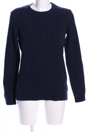 Tommy Hilfiger Strickpullover blau Zopfmuster Casual-Look