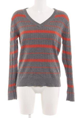 Tommy Hilfiger Gebreide trui lichtgrijs-rood gestreept patroon