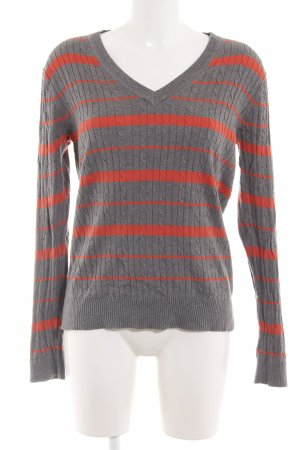 Tommy Hilfiger Strickpullover hellgrau-rot Streifenmuster Casual-Look