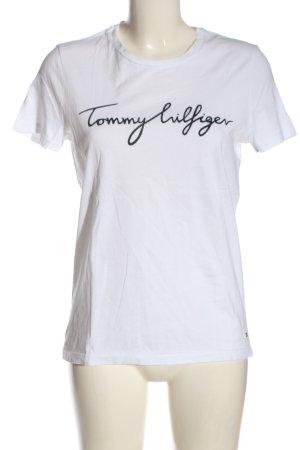 Tommy Hilfiger T-Shirt weiß-schwarz Schriftzug gedruckt Casual-Look