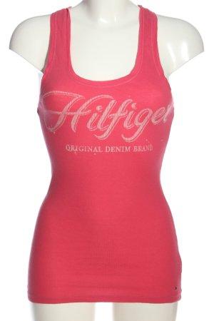 Tommy Hilfiger Top de punto rosa letras impresas look casual
