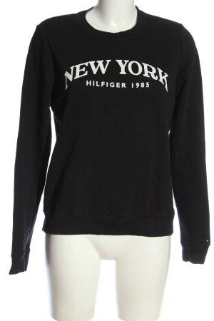 Tommy Hilfiger Sweatshirt schwarz-weiß Schriftzug gedruckt Casual-Look