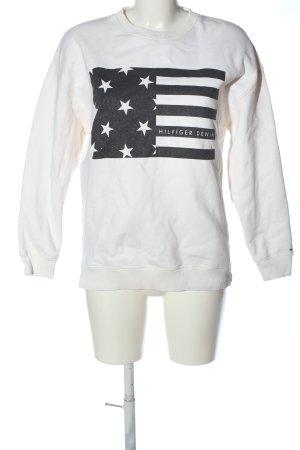 Tommy Hilfiger Sweatshirt weiß-schwarz Motivdruck Casual-Look