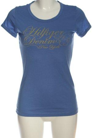 Tommy Hilfiger T-Shirt blau-goldfarben Schriftzug gedruckt Casual-Look