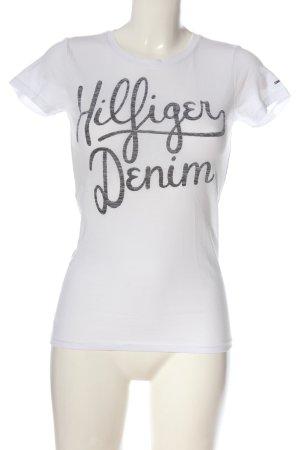 Tommy Hilfiger T-Shirt weiß-schwarz Motivdruck Casual-Look