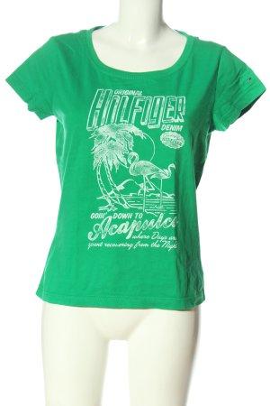 Tommy Hilfiger T-Shirt grün-weiß Motivdruck Casual-Look
