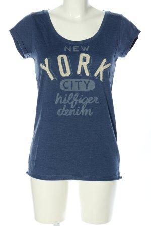 Tommy Hilfiger T-Shirt blau-wollweiß Schriftzug gedruckt Casual-Look