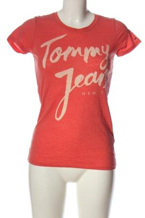 Tommy Hilfiger T-Shirt hellorange Schriftzug gedruckt Casual-Look