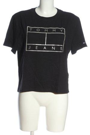 Tommy Hilfiger T-Shirt schwarz-hellgrau Motivdruck Casual-Look