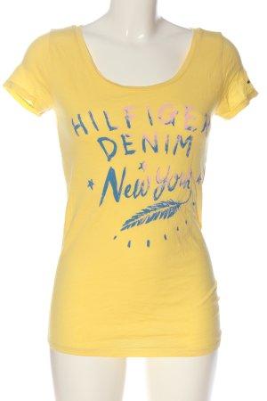 Tommy Hilfiger T-Shirt blassgelb Schriftzug gedruckt Casual-Look