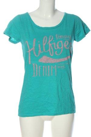 Tommy Hilfiger T-Shirt türkis-hellgrau Motivdruck Casual-Look