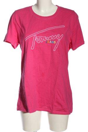 Tommy Hilfiger T-Shirt pink-weiß Schriftzug gestickt Casual-Look