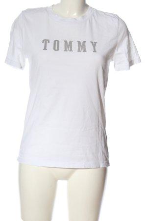 Tommy Hilfiger T-Shirt weiß-silberfarben Schriftzug gedruckt Casual-Look
