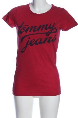 Tommy Hilfiger T-Shirt rot-schwarz Schriftzug gedruckt Casual-Look