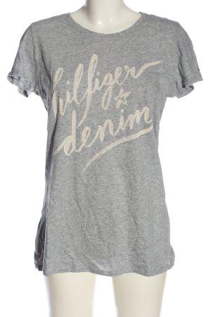 Tommy Hilfiger T-Shirt hellgrau-wollweiß Schriftzug gedruckt Casual-Look