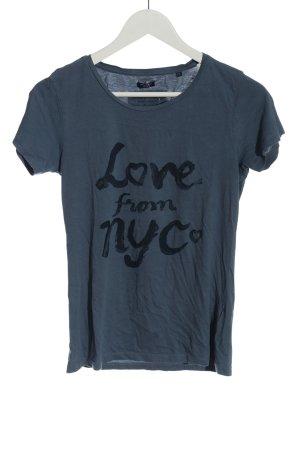 Tommy Hilfiger T-Shirt blau-schwarz Schriftzug gedruckt Casual-Look