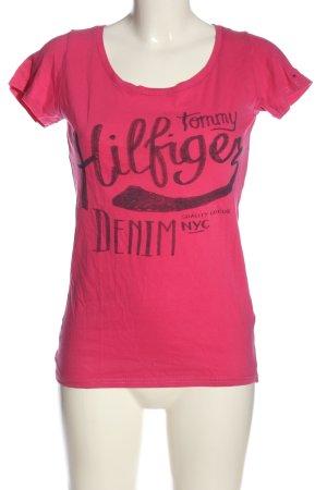 Tommy Hilfiger T-Shirt pink-schwarz Schriftzug gedruckt Casual-Look