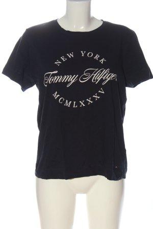 Tommy Hilfiger T-Shirt schwarz-wollweiß Schriftzug gedruckt Casual-Look