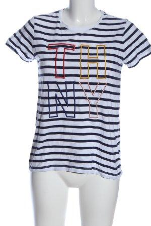 Tommy Hilfiger T-Shirt blau-weiß Schriftzug gestickt Casual-Look
