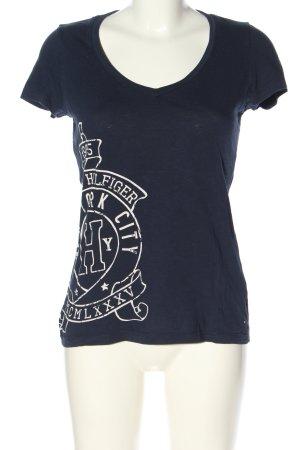 Tommy Hilfiger T-Shirt blau Schriftzug gedruckt Casual-Look