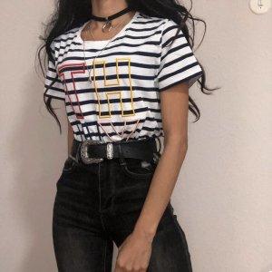 Tommy Hilfiger T-Shirt besticktes gestreiftes Shirt Gr.S | Neuwertig