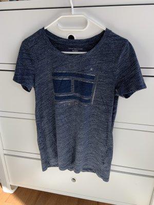 Tommy Hilfiger T-Shirt - Blau meliert/Silber - Aufdruck