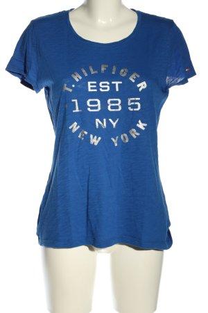 Tommy Hilfiger T-Shirt blau-silberfarben Schriftzug gedruckt Casual-Look