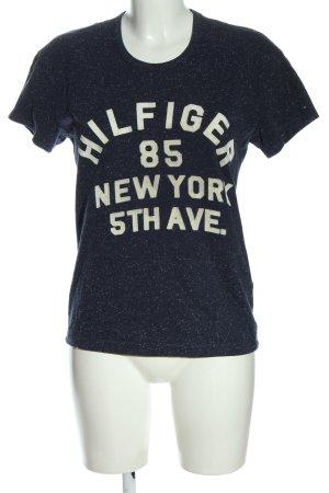 Tommy Hilfiger T-Shirt blau-weiß Schriftzug gedruckt Casual-Look
