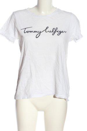 Tommy Hilfiger T-Shirt weiß-schwarz Schriftzug gedruckt Elegant