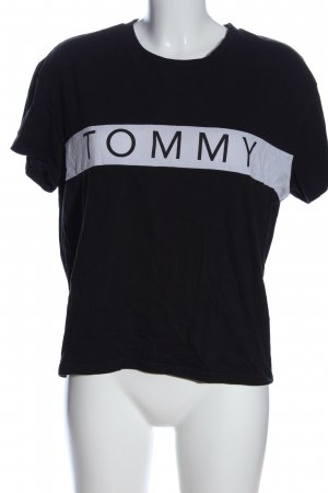 Tommy Hilfiger T-Shirt schwarz-weiß Schriftzug gedruckt Casual-Look