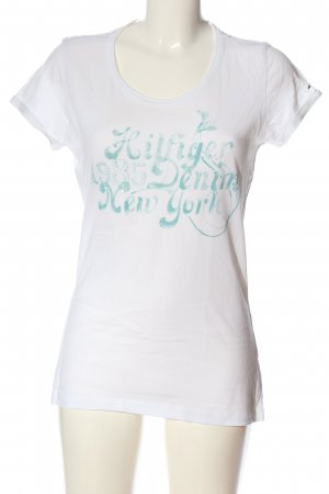 Tommy Hilfiger T-Shirt weiß-türkis Schriftzug gedruckt Casual-Look