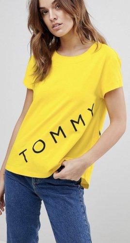 Tommy Hilfiger T-Shirt empire-gelb Logo Print S oversize