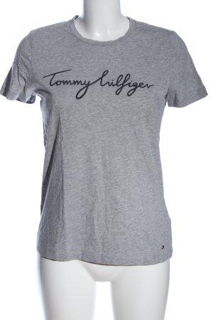 Tommy Hilfiger T-Shirt hellgrau-schwarz Schriftzug gedruckt Casual-Look