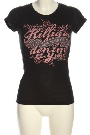 Tommy Hilfiger T-Shirt schwarz-pink Schriftzug gedruckt Casual-Look