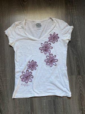 Tommy hilfiger T-Shirt Shirt top weiß rot Bordeaux Blumen neu Aufnäher dunkelrot Bänder